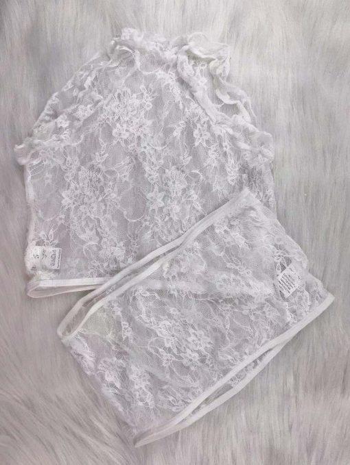 Sexy Lace Lingerie Shorts Set white
