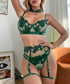 Sexy Secretary Lingerie set green